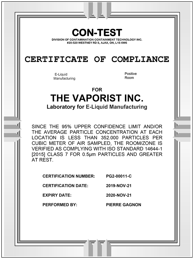 The Vaporist Inc Lab Certificate Report ISO 7 Manufacturing